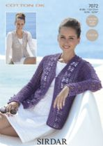 Sirdar Cotton DK Crochet Pattern - 7072 Waistcoat and Cardigan